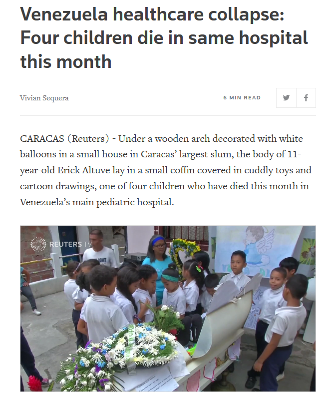 Reuters: Venezuela healthcare collapse: Four children die in same hospital this month