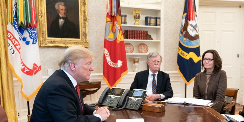 Donald Trump, John Bolton and Gina Haspel