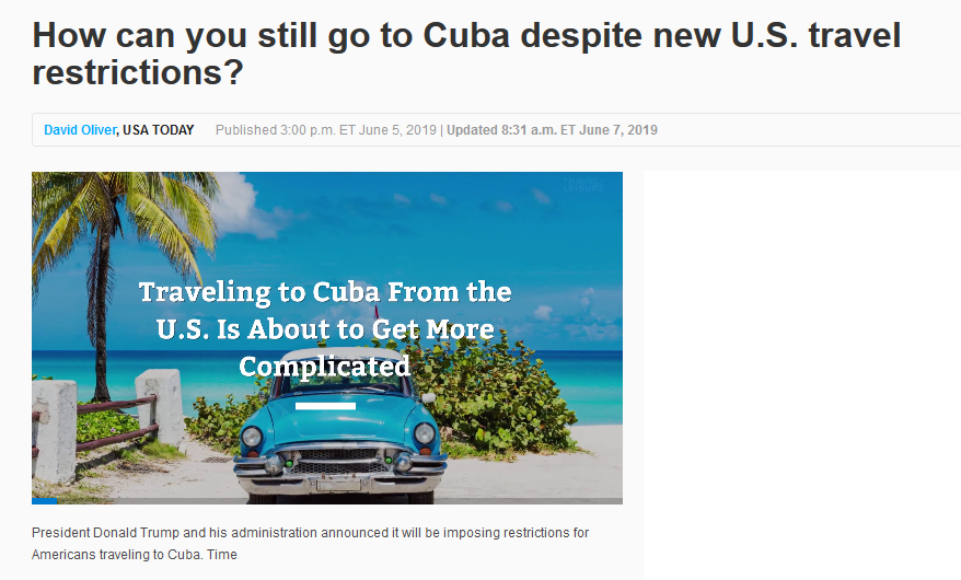 USA Today: How can you still go to Cuba despite new U.S. travel restrictions?