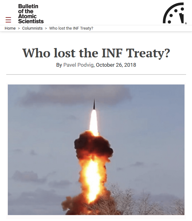 BOTAS: Who Lost the INF Treaty?