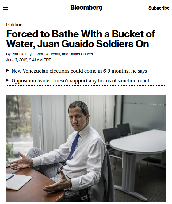 Bloomberg: Forced to Bathe With a Bucket of Water, Juan Guaido Soldiers On
