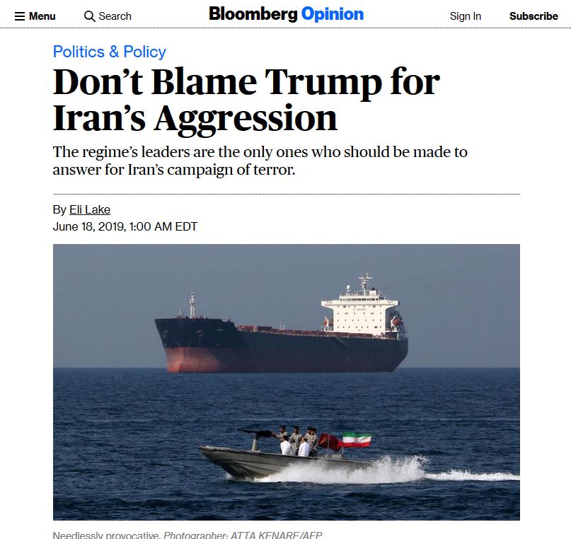 Bloomberg: Don't Blame Trump for Iran's Aggression