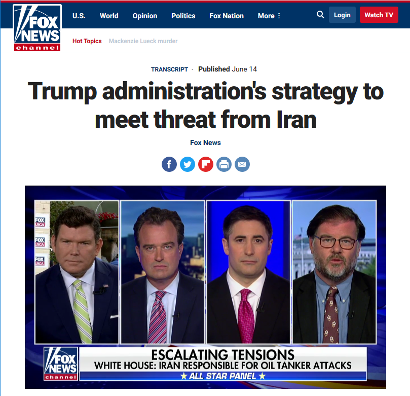 Fox: Trump Administration Strategy to Meet Threat From Iran