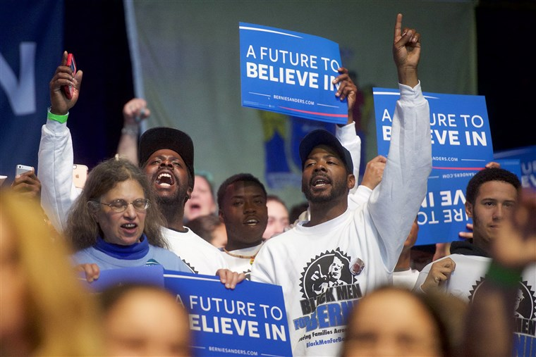 NBC depiction of a Bernie Sanders rally in Atlantic City