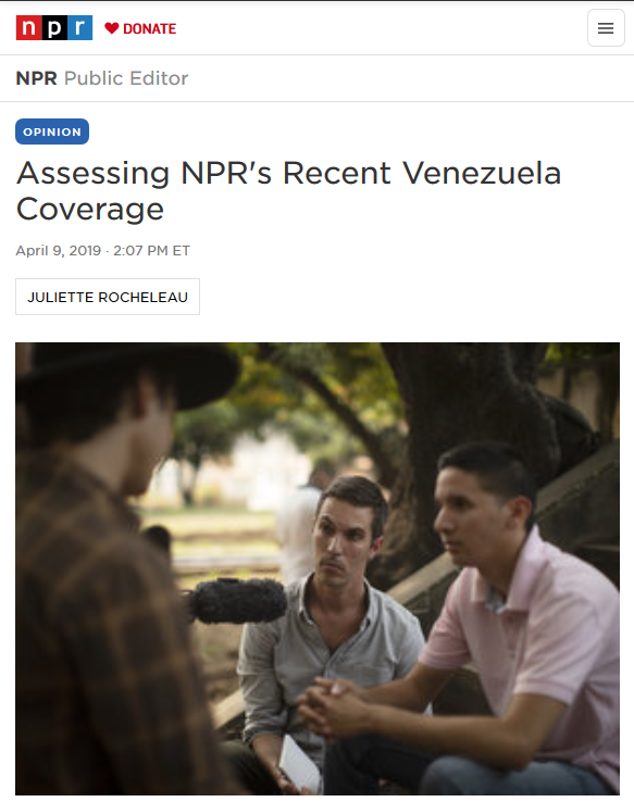 NPR: Assessing NPR's Recent Venezuela Coverage