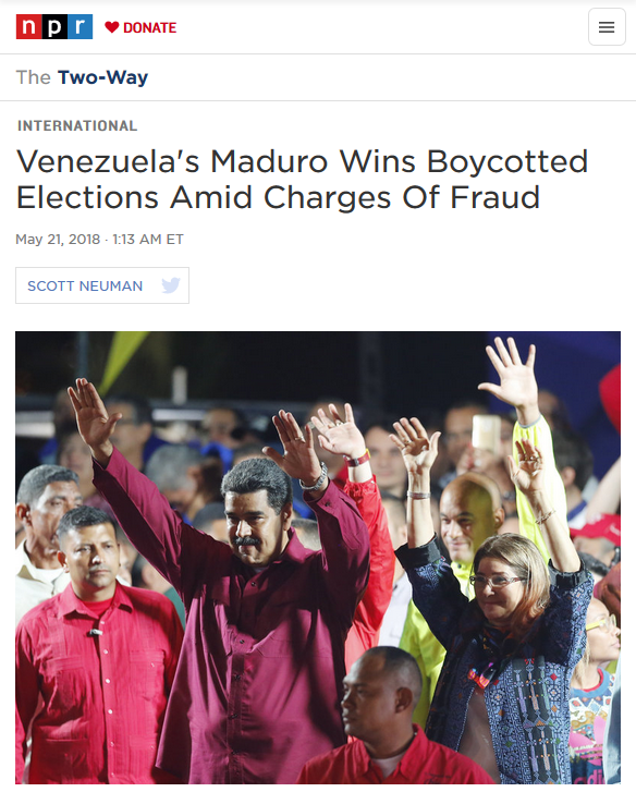 NPR: Venezuela's Maduro Wins Boycotted Elections Amid Charges Of Fraud