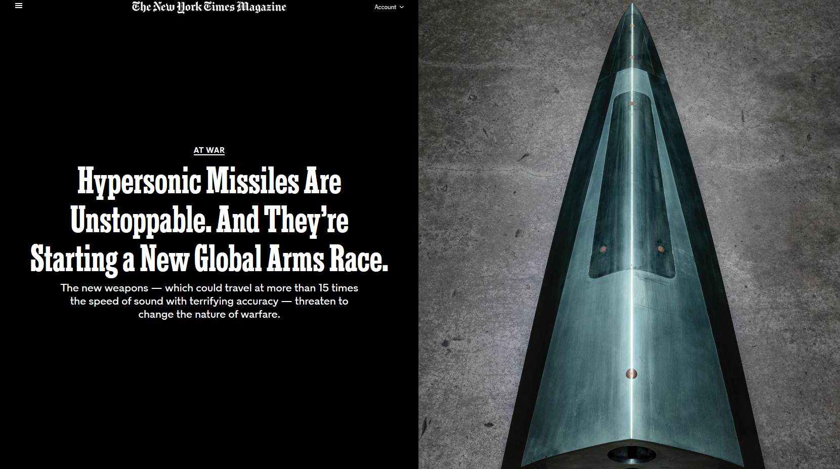 NYT: Hypersonic Missiles Are Unstoppable. And They're Starting a New Global Arms Race.