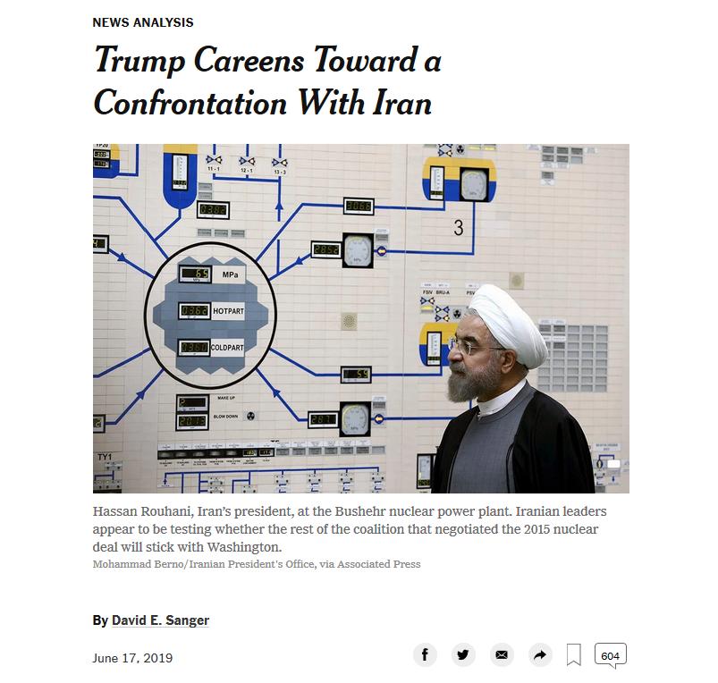 NYT: Trump Careens Toward a Confrontation With Iran