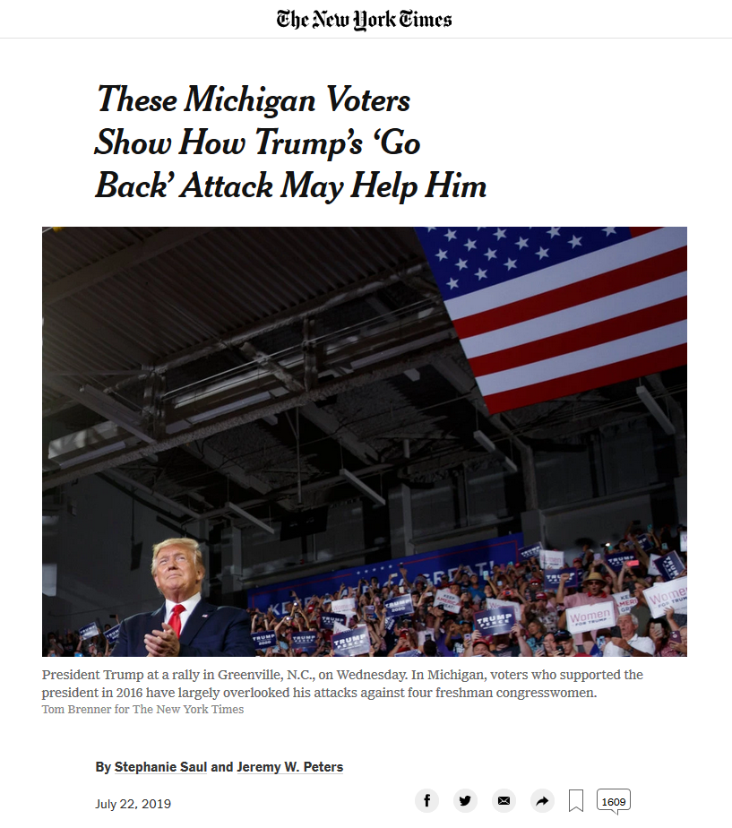 NYT: These Michigan Voters Show How Trump's 'Go Back' Attack May Help Him