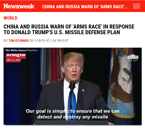 Newsweek: China and Russia Warn of 'Arms Race' in Response to Donald Trump's U.S. Missile Defense Plan