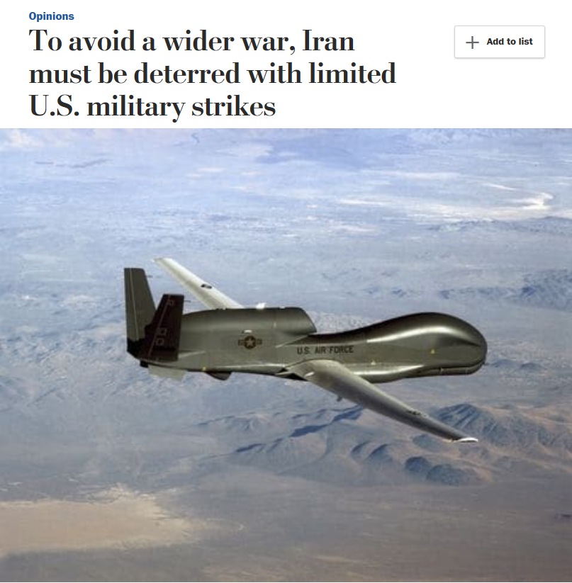 WaPo: To avoid a wider war, Iran must be deterred with limited U.S. military strikes