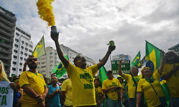 Depiction of pro-Bolsonaro rally in the Guardian