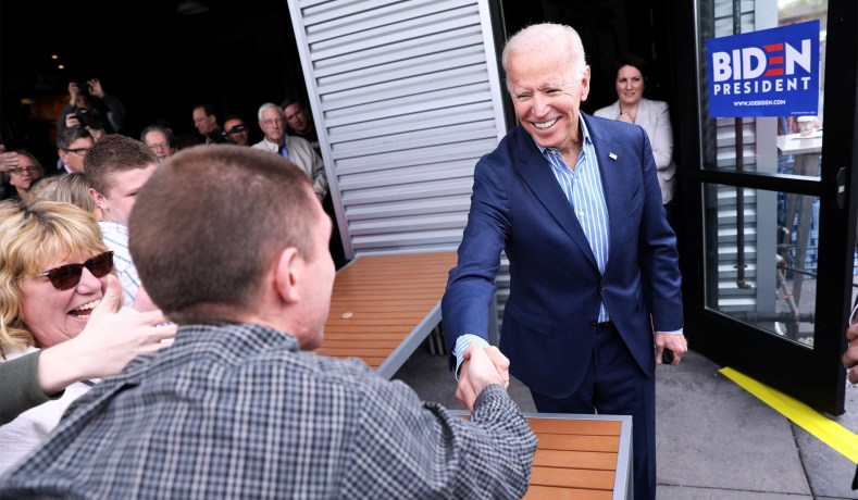 National Review depiction of Joe Biden campaigning in Iowa