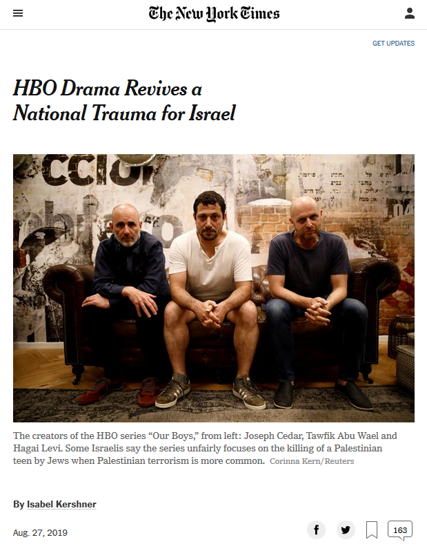 NYT: HBO Drama Revives a National Trauma for Israel