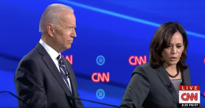 Joe Biden and Kamala Harris at CNN's Democratic debate