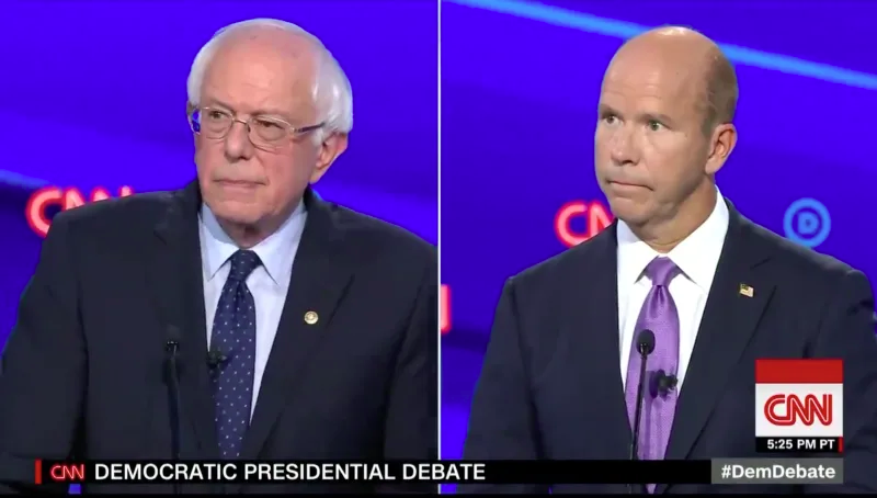 Bernie Sanders and John Delaney at CNN's Democratic debate