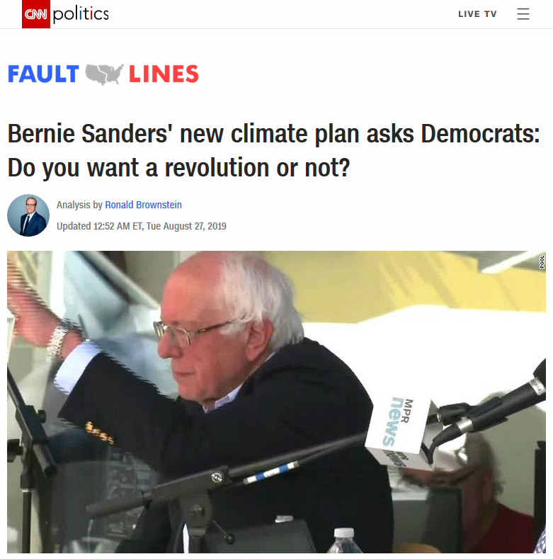 CNN: Bernie Sanders' new climate plan asks Democrats: Do you want a revolution or not?