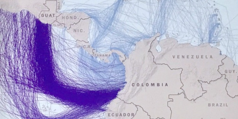US tracking of drugrunning routes between South and Central America.