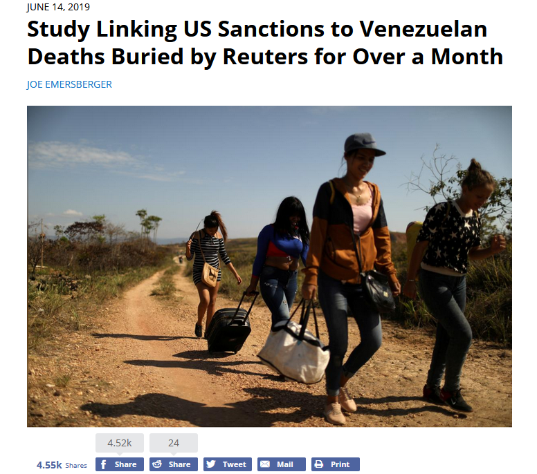 FAIR: Study Linking US Sanctions to Venezuelan Deaths Buried by Reuters for Over a Month