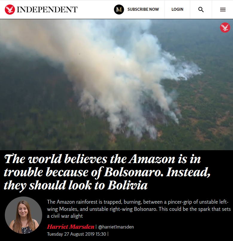 Independent: The world believes the Amazon is in trouble because of Bolsonaro. Instead, they should look to Bolivia