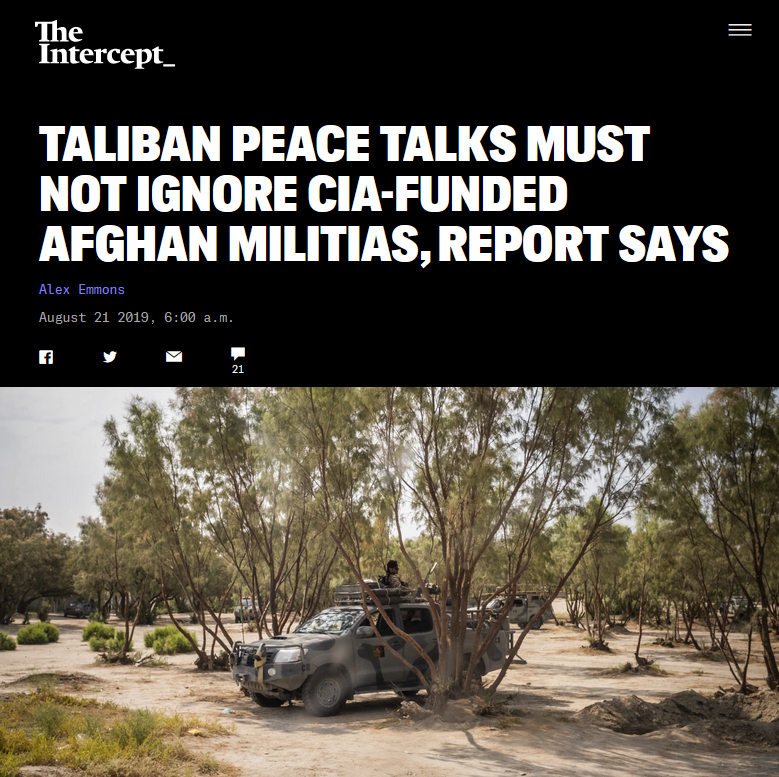 Intercept: Taliban Peace Talks Must Not Ignore CIA-Funded Afghan Militias, Report Says