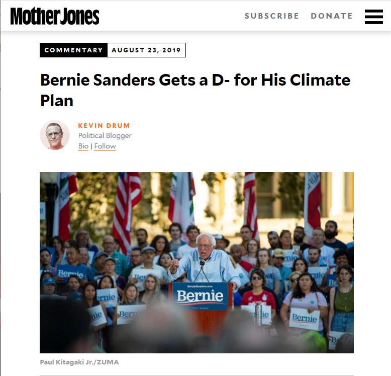 Mother Jones: Bernie Sanders Gets a D- for His Climate Plan