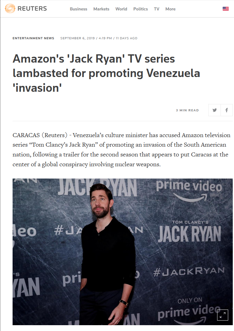 Reuters: Amazon's 'Jack Ryan' TV series lambasted for promoting Venezuela 'invasion'