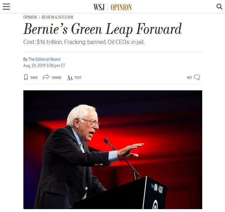 WSJ: Bernie's Green Leap Forward