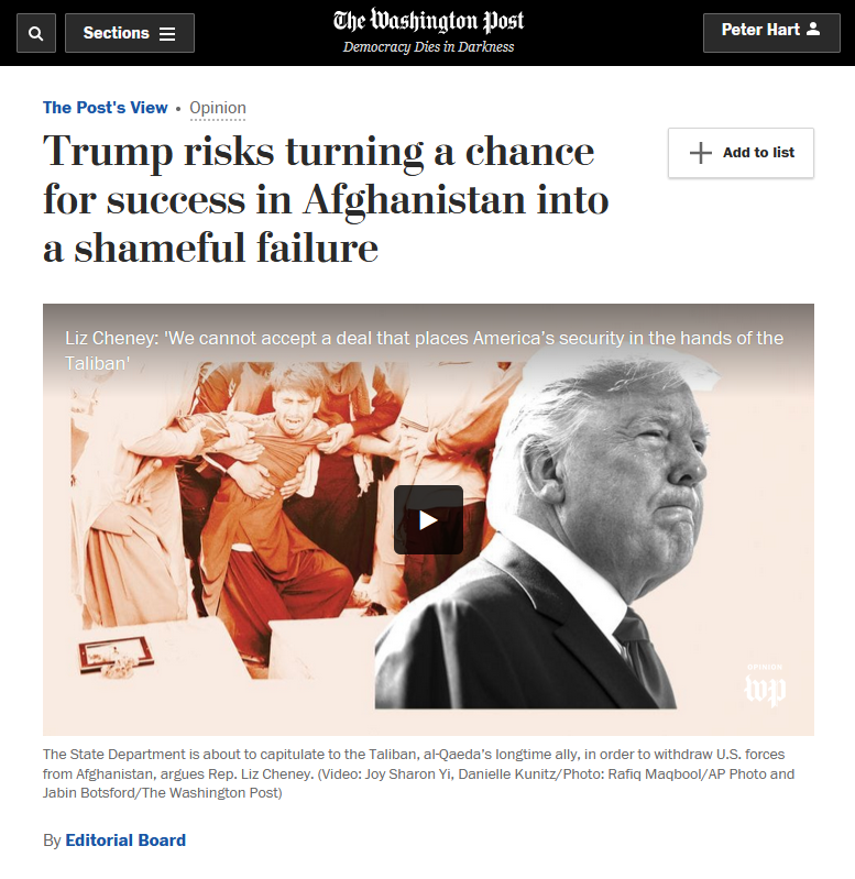 WaPo: Trump risks turning a chance for success in Afghanistan into a shameful failure