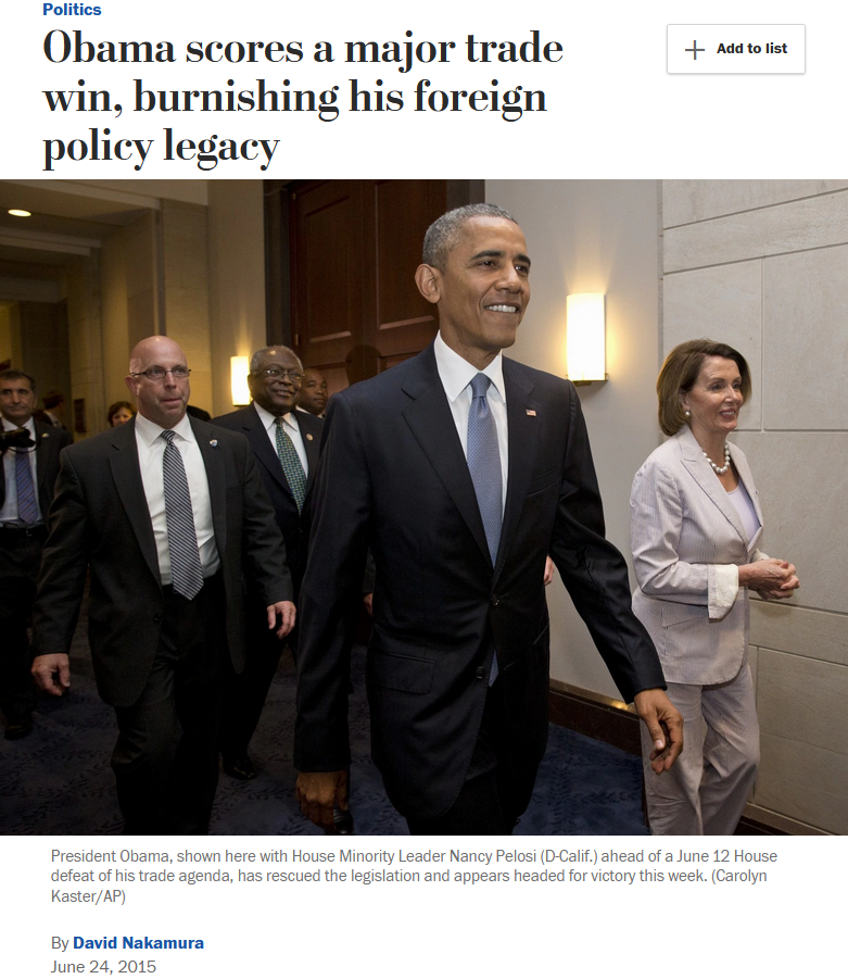 WaPo: Obama scores a major trade win, burnishing his foreign policy legacy
