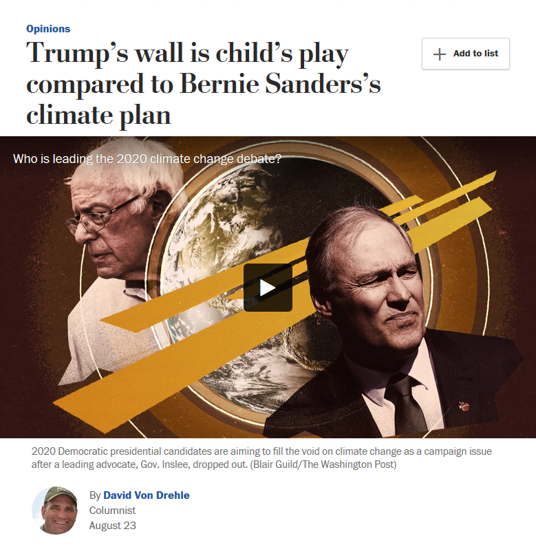 WaPo: Trump's wall is child's play compared to Bernie Sanders's climate plan