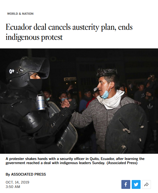 AP: Ecuador deal cancels austerity plan, ends indigenous protest