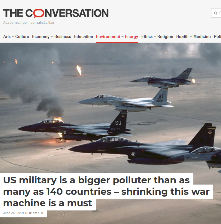 Conversation: US military is a bigger polluter than as many as 140 countries – shrinking this war machine is a must