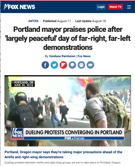 Fox News: Portland mayor praises police after 'largely peaceful' day of far-right, far-left demonstrations