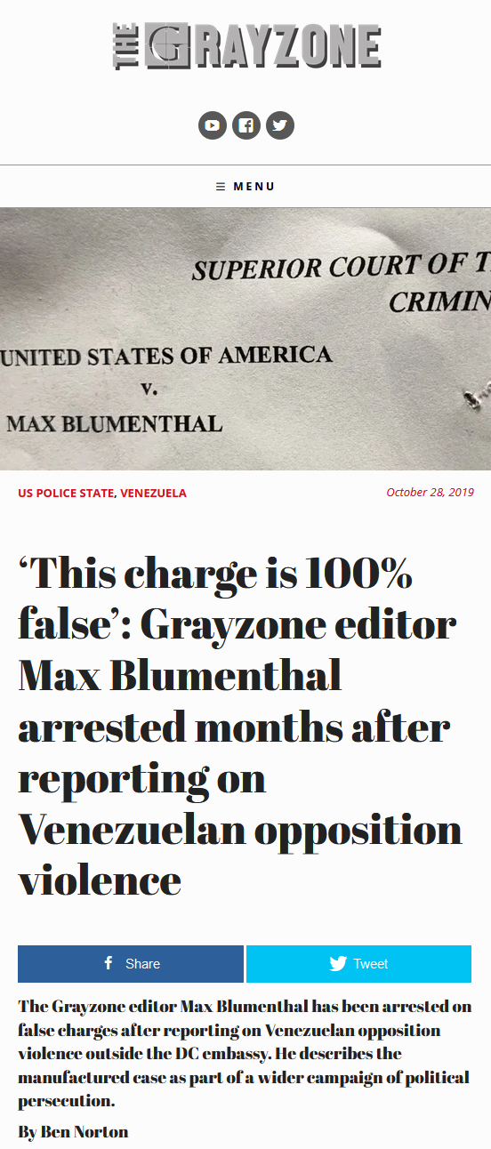 Grayzone: 'This charge is 100% false': Grayzone editor Max Blumenthal arrested months after reporting on Venezuelan opposition violence