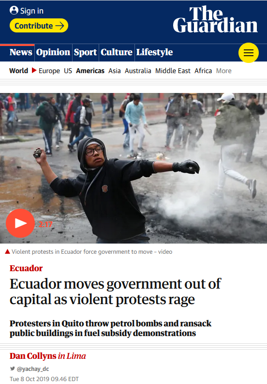 Guardian: Ecuador moves government out of capital as violent protests rage