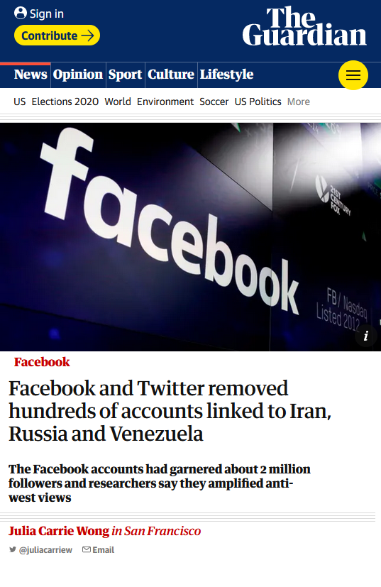 Guardian: Facebook and Twitter removed hundreds of accounts linked to Iran, Russia and Venezuela