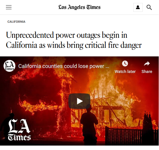 LA Times: Unprecedented power outages begin in California as winds bring critical fire danger