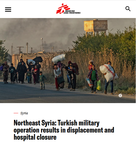 MSF: Northeast Syria: Turkish military operation results in displacement and hospital closure