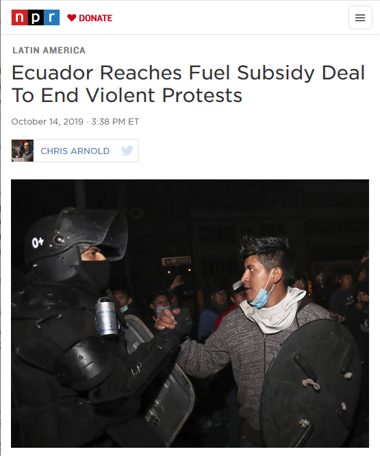NPR: Ecuador Reaches Fuel Subsidy Deal To End Violent Protests