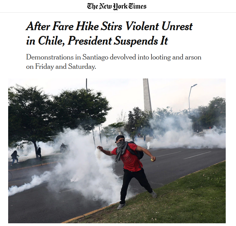 NYT: After Fare Hike Stirs Violent Unrest in Chile, President Suspends It