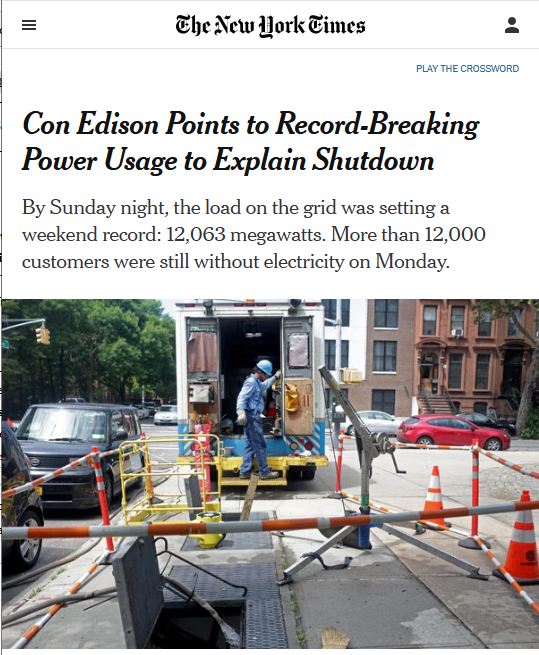 NYT: Con Edison Points to Record-Breaking Power Usage to Explain Shutdown