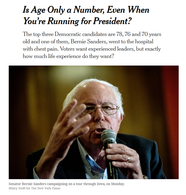 NYT: Is Age Only a Number, Even When You're Running for President?
