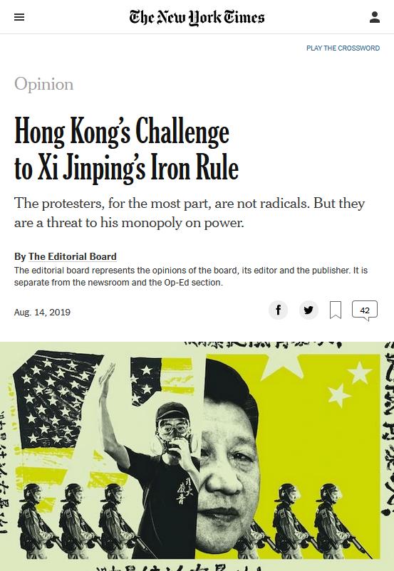 NYT: Hong Kong's Challenge to Xi Jinping's Iron Rule