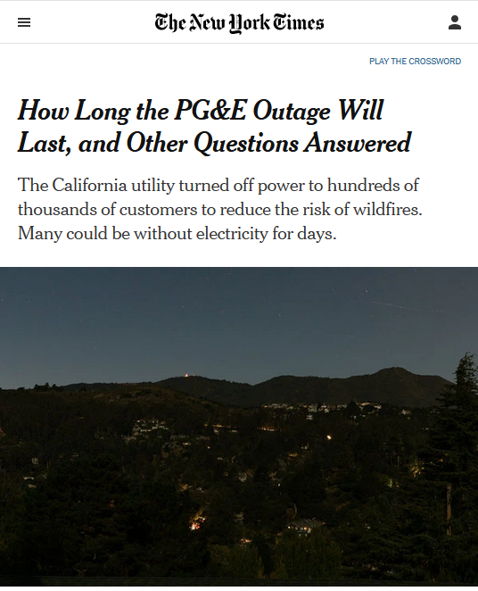NYT: How Long the PG&E Outage Will Last, and Other Questions Answered