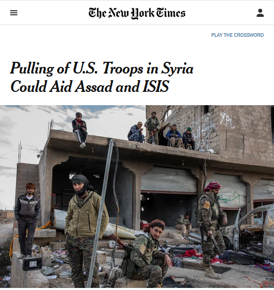 NYT: Pulling of U.S. Troops in Syria Could Aid Assad and ISIS