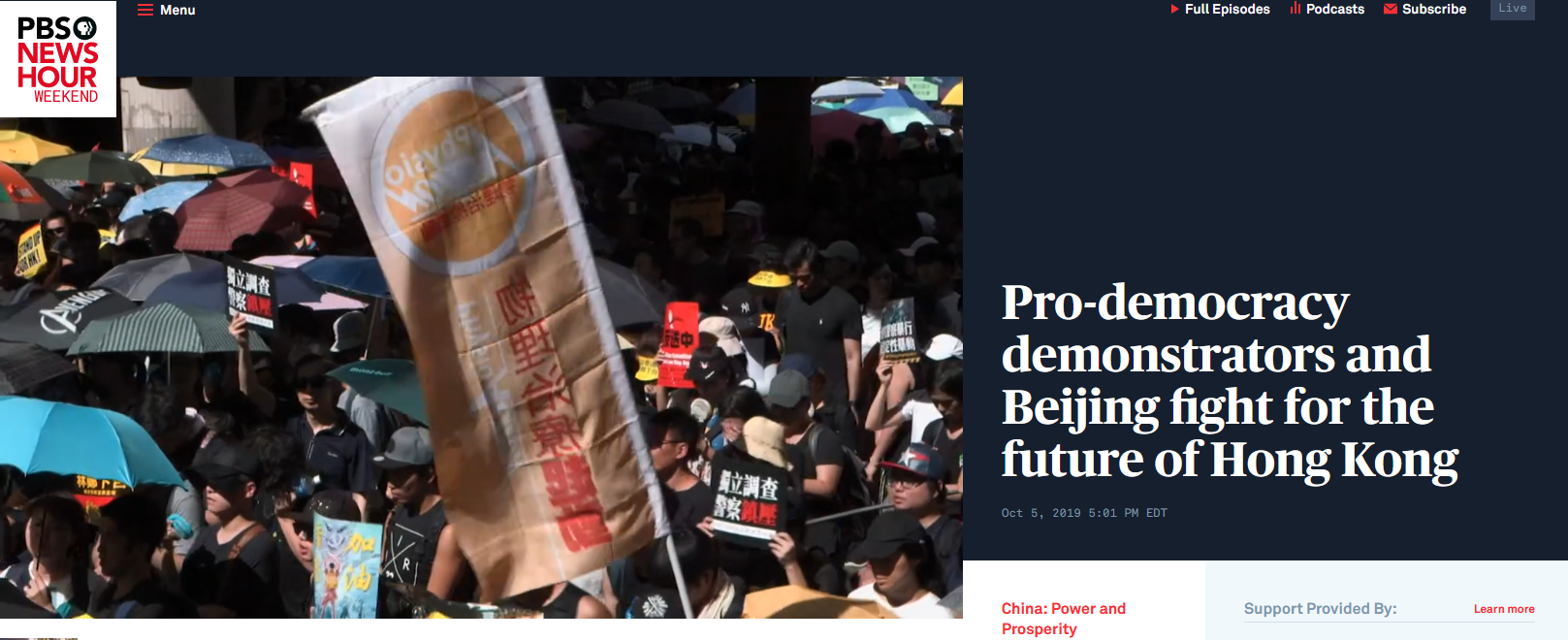 NewsHour: Pro-democracy demonstrators and Beijing fight for the future of Hong Kong