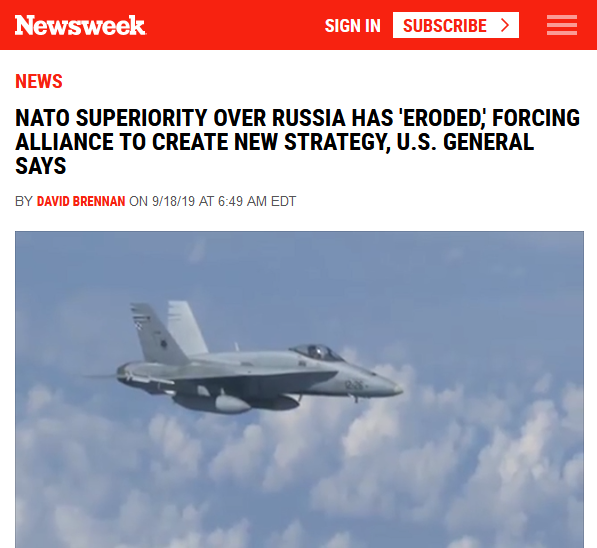 Newsweek: NATO Superiority Over Russia Has 'Eroded,' Forcing Alliance to Create New Strategy, U.S. General Says