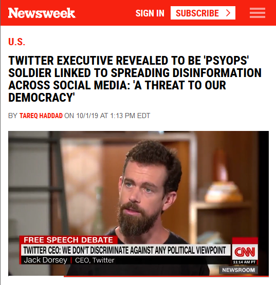 Newsweek: Twitter Executive Revealed to Be 'Psyops' Soldier Linked to Spreading Disinformation Across Social Media: 'A Threat to Our Democracy'