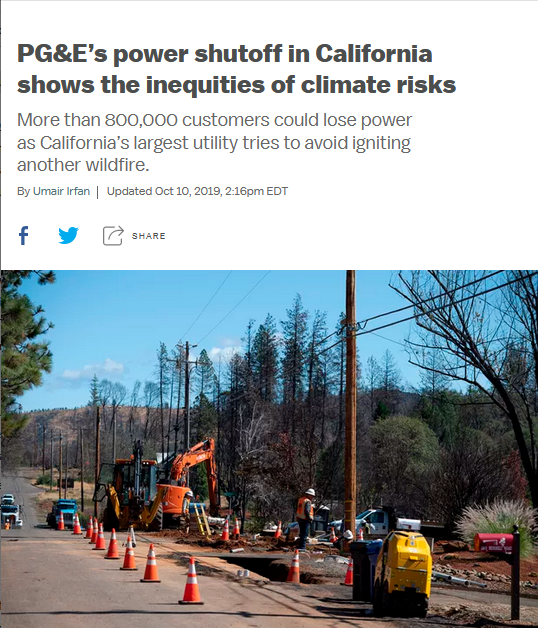 Vox: PG&E's power shutoff in California shows the inequities of climate risks